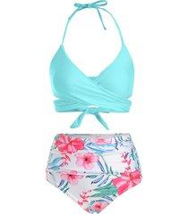 floral print halter wrap bikini swimsuit