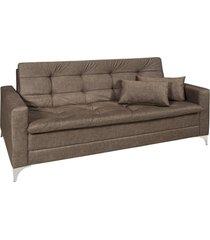 sofá cama 3 lugares facility reclinável mescla império estofados chocolate