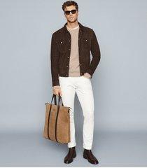 reiss jagger - suede trucker jacket in chocolate, mens, size xxl
