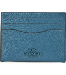 coach women's crossgrain flat card case - lake