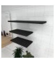 kit 3 prateleiras banheiro em mdf sup. inivisivel preto 2 60x30cm 1 90x30cm modelo pratbnp33