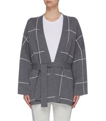 double face check belted cardigan