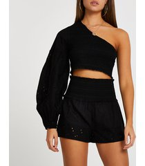 river island womens black embroidered shirred beach shorts