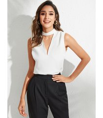 yoins blusa sin mangas blanca con aberturas