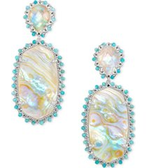 kendra scott silver-tone parsons beaded oval drop earrings