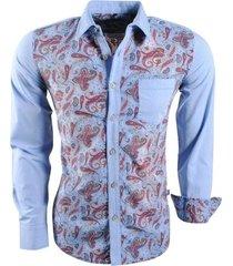 carisma trendy italiaans overhemd met paisley print 8149 licht blauw
