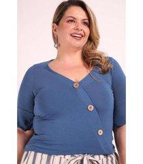 blusa transpassada com botões plus size kauê plus size feminina - feminino