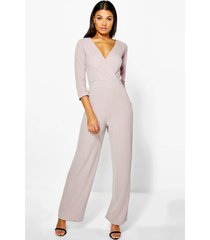 roll sleeve relaxed wide leg jumpsuit, stone