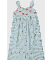 vestido azul-naranja boboli