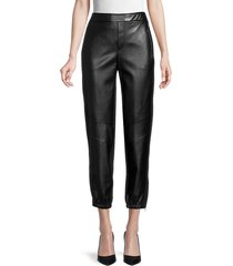 bailey 44 women's foster faux-leather cropped pants - black - size l