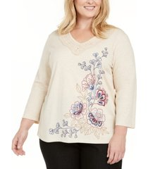 alfred dunner plus size autumn harvest embroidered knit top