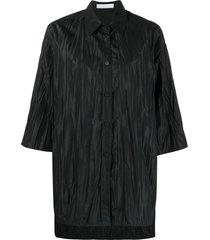 fabiana filippi crinkle-effect oversize shirt - green