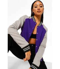 colour block varsity bomberjack, purple