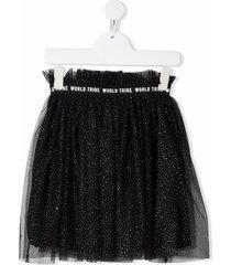 andorine metallic threading tulle skirt - black