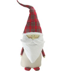 """northlight 26"""" beige and red santa claus gnome with plaid hat christmas decoration"""