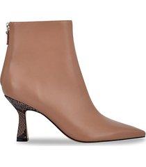 hint snake-print heel leather booties