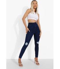 versleten skinny jeans met hoge taille, indigo