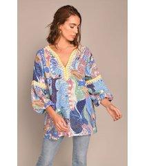 blusa manga larga estampado maxi fleur