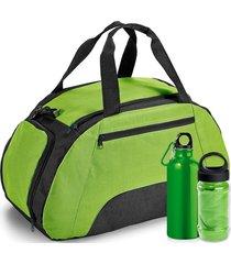 kit bolsa esportiva gym com 3 peças topget verde claro