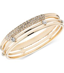 anne klein gold-tone 3-pc. set crystal bangle bracelet, created for macy's