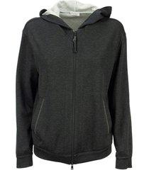 brunello cucinelli cotton and silk french terry sweatshirt with monili