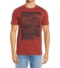 men's wrangler motel graphic tee, size medium - brown