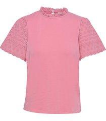 viselva crochet t-shirt blouses short-sleeved rosa vila