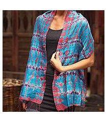 silk scarf, 'azure wilderness' (thailand)