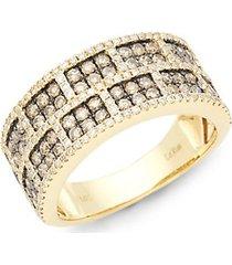 chocolatier 14k honey gold, chocolate diamond & vanilla diamond band ring