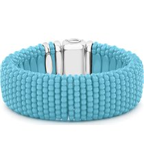 women's lagos wide blue ceramic caviar bracelet