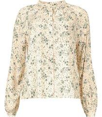 blouse met print ghandi  groen