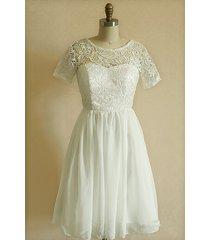 vintage short sleeves short lace bridal dress wedding dress bridesmaid dress r01