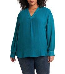 plus size women's vince camuto rumple fabric blouse, size 1x - green