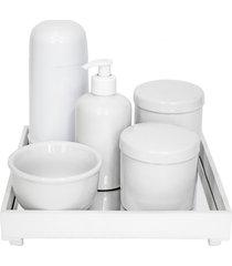 kit higiene espelho completo porcelanas e garrafa pequena branco quarto beb㪠 - branco - dafiti