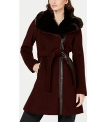 via spiga asymmetrical belted faux-fur-collar coat, created for macy's