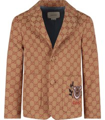 gucci biege boy jacket with iconic double gg