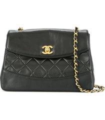 chanel pre-owned 1989-1991 single chain shoulder bag - black