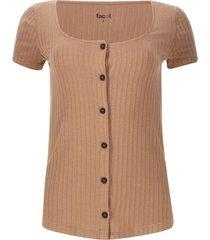 camiseta acanalada con botones color beige, talla 10