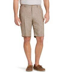 jos. a. bank men's reserve collection traditional fit linen flat front shorts clearance, brown, 44 regular