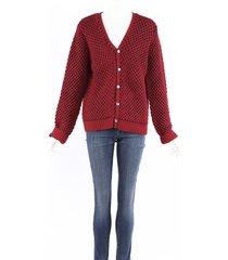 julien david red blue wool knit cardigan sweater blue/red sz: l