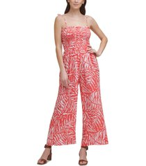 calvin klein smocked wide-leg jumpsuit