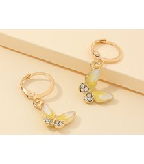 butterfly glazed rhinestone small hoop earrings