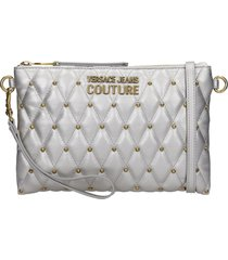 versace jeans couture clutch in silver leather