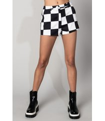 akira checkmate fitted mid rise shorts