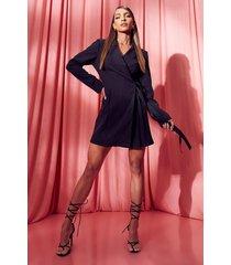 geweven geplooide wikkel blazer jurk, black