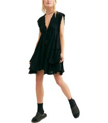 women's free people antoinette plunge neck tiered dress, size x-small - black