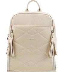 mochila de cuero blanca lazaro puebla
