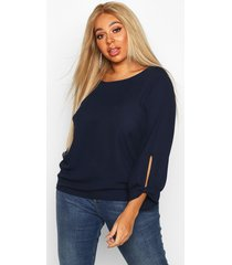 plus bow cuff detail longsleeve blouse, navy