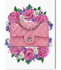 """oliver gal doll memories floral & purse fine art canvas print - pink - size 18"""" x 24"""""""