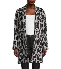 t tahari women's animal-jacquard cardigan - grey leopard - size m